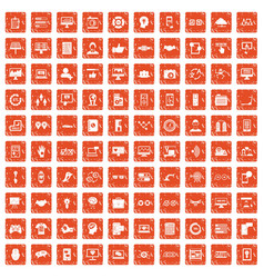 100 interface icons set grunge orange vector