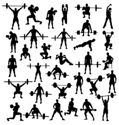 Sport silhouette of bodybuilding and weightlifting vector image