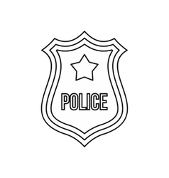 Police shield badge icon outline style vector