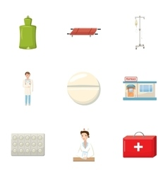 Medicine help icons set cartoon style vector