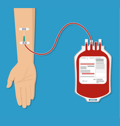 bag with blood and hand of donor vector image