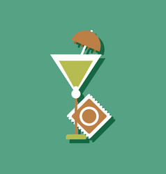 flat icon design condom and cocktail in sticker vector image