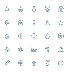 Thin line christmas icons set for web and mobile vector