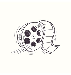 Sketched film reel desktop icon vector
