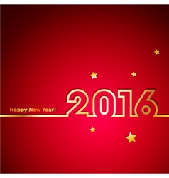 Golden 2016 new year with stars on red background vector