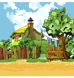 Cartoon village house with a courtyard vector