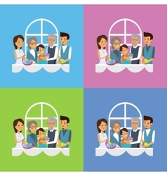 Happy easter family set design vector
