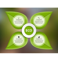 Abstract nature infographic green leaves on a vector