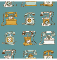 Seamless vintage telephones vector