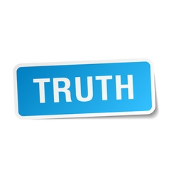 Truth blue square sticker isolated on white vector