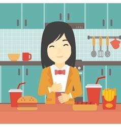 Satisfied woman eating fast food vector