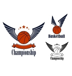 Basketball game emblems with winged balls vector