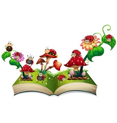 Book of ladybugs and mushroom vector image vector image