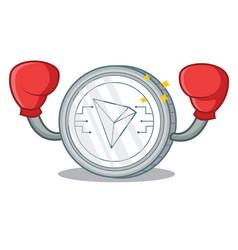 Boxing tron coin character cartoon vector