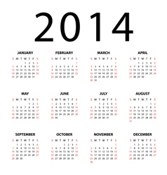 Calendar for 2014 on white background vector image vector image