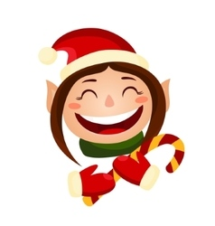 Cartoon cute christmas girl - elf holding a candy vector
