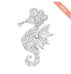 Cartoon sea-horse with ornament vector