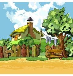 Cartoon village house with a courtyard vector
