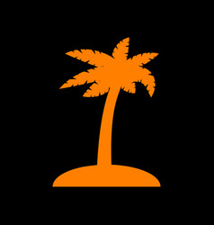 Coconut palm tree sign orange icon on black vector