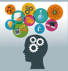 color background human head with mechanisms and vector image vector image