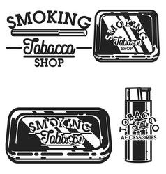Color vintage tobacco shop emblems vector