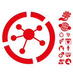 connections diagram icon with dating bonus vector image