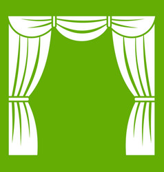 Curtain on stage icon green vector