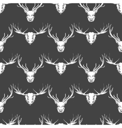 Deer and elk heads seamless pattern vector image