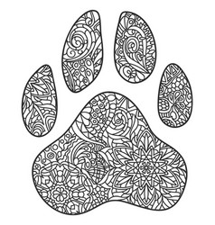 Dog paw print zentagle vector