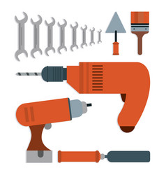 Drill spatula wrench brush tool icon vector