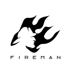 Fireman in flame abstract design template vector