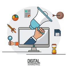 Hand holding speaker digital marketing business vector
