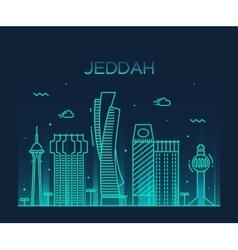 Jeddah skyline linear style vector image
