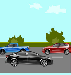 Landscape street with cars vector
