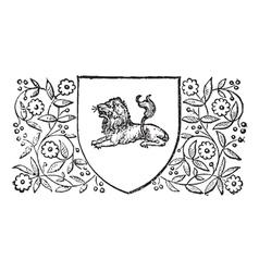 Lion sheild vintage engraving vector image vector image