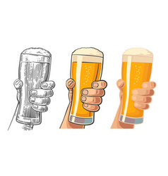 Male hand holding a beer glass vector