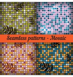 Mosaic with palm leaves set of seamless patterns vector