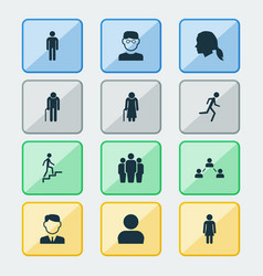person icons set collection of network ladder vector image vector image