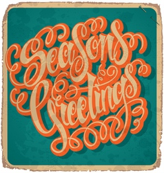 SEASONS GREETINGS hand lettering vintage card vector image vector image