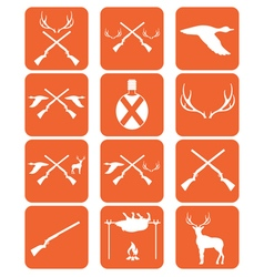 Set of hunting emblem and ecvipment icons vector