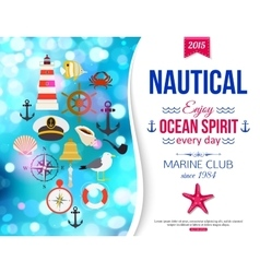 Shining summer nautical typographical background vector image vector image