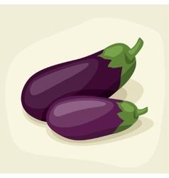 Stylized of fresh ripe eggplants vector image