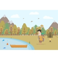 Tourist fishing in the fall vector image vector image