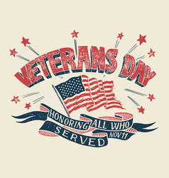 veterans day hand-lettering poster vector image