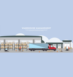 warehouse management banner in flat design vector image vector image