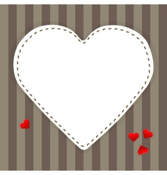 White paper heart on a stripped background vector image vector image