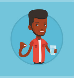 Young african-american man taking pills vector