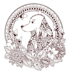 Zen Tangle Dog in round frame vector image vector image