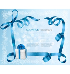 Holiday background with blue gift bow with gift vector image