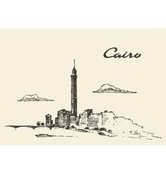 Cairo skyline egypt drawn sketch vector